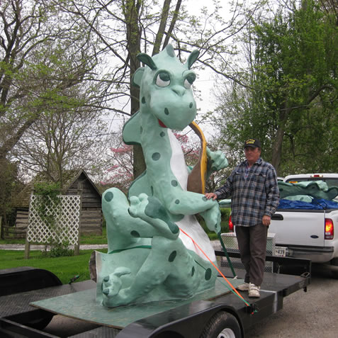 George Miller (who built the Castle entrance at our farm in 2007) accompanies the Dragon to the petting farm